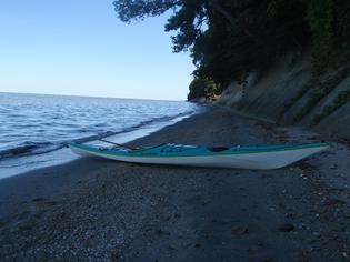 kayak on isolated shore